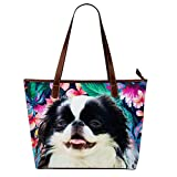 Womens Designer Handbags Tote Print Japanese Chin Dog Flowers(Waterproof,Large)