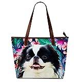 Womens Designer Handbags Tote Print Japanese Chin Dog Flowers(Waterproof,Large)