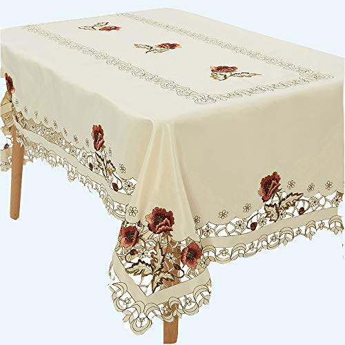 Tablecloth Beige Polyester Embroidery Rectangular Washable for Christmas Decor, Buffet Table, Parties, Holiday Dinner, Wedding & More (Rectangular, 59