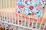 Floral Stripe Crib Bedding Set- Skopelos