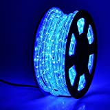 50ft 360 LED Waterproof Rope Lights,110V Connectable Indoor Outdoor Led Rope Lights for Deck, Patio, Pool, Camping, Bedroom Decor, Landscape Lighting and More (Blue)