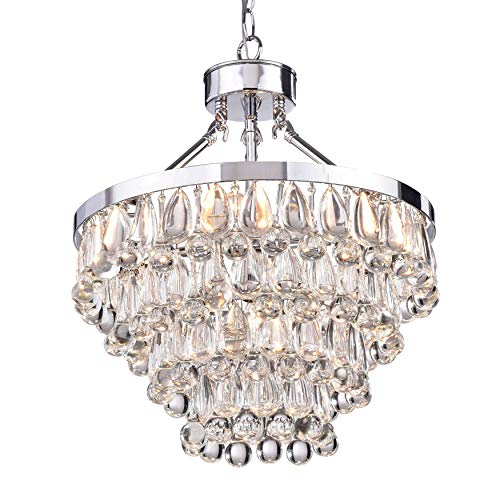 Jojospring Ivana 5-Light Chrome Luxury Crystal Teardrop Chandelier ()
