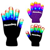The Noodley Flashing LED Light Gloves - Adult / Teen Size Black/White