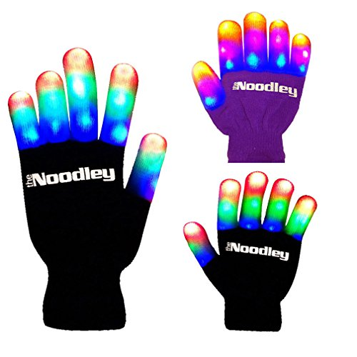 The Noodley's Flashing LED Light Gloves - Adult Size - Extra Batteries