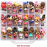 HOME4 Double Sided Storage Container - BPA Free - Organizer Case - 48 Compartments - Perfect for Small Dolls and Toys - Dolls Not Included (Clear)