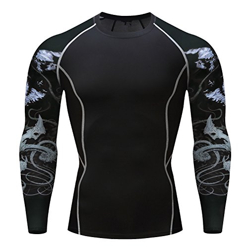 Fanii Quare Men's Quick-Dry Sports Tights Long Sleeve Compression Activewear T-Shirt Black Wolf S