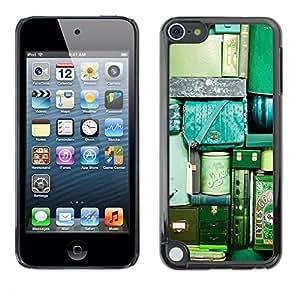 TopCaseStore / la caja del caucho duro de la cubierta de protección de la piel - Travel Bags Luggage Green Teal Vignette - Apple iPod Touch 5