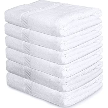 Premium 100% Cotton White Bath Towel Set (6 Pack, 22 x 44 Inch) Lightweight High Absorbency Multipurpose Quick Drying Pool Gym White Towel Set by Utopia Towels (White)