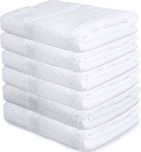 Cotton Pool Gym Bath Towels (6 Pack, 22 x 44 Inch) - 500 GSM
