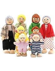 SumDirect Set med 8 personer trä familj docka leksaker, härlig glad familj dockor lekset dockhus tillbehör för dockhus barn leksak