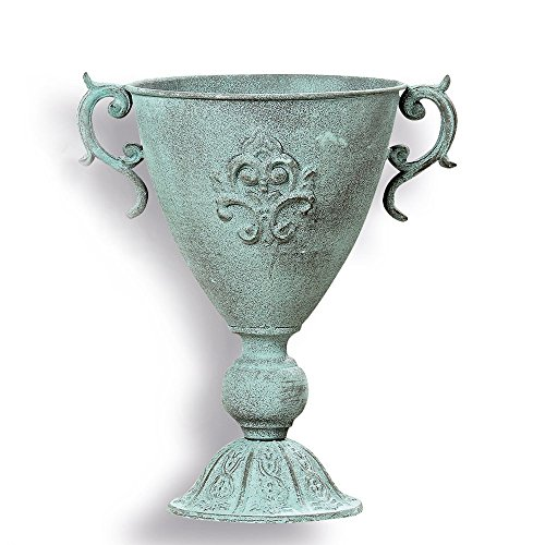 The French Country Style Fleur de Lis Jardinière, Cache Pot, Urn Planter, Rustic Metal Lush Green Patina, for Topiary, Plants, and Floral Arrangements 13 ½