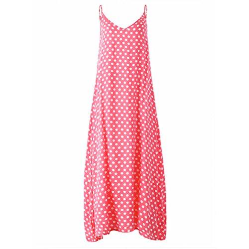 shion Polka Dots Maxi Dress Long Casual Summer Beach Chiffon Dresses Sexy V Neck Boho Dress Pink 5XL ()