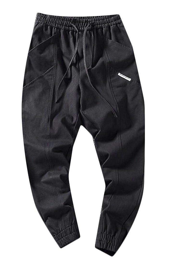 Spirio Mens Drawstring Cotton Jogger Pockets Loose Athletics Long Pants