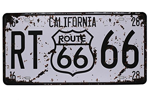 """RT Route 66 California Vintage Auto License Plate, Embossed Tag Size 6"""" X 12"""""""