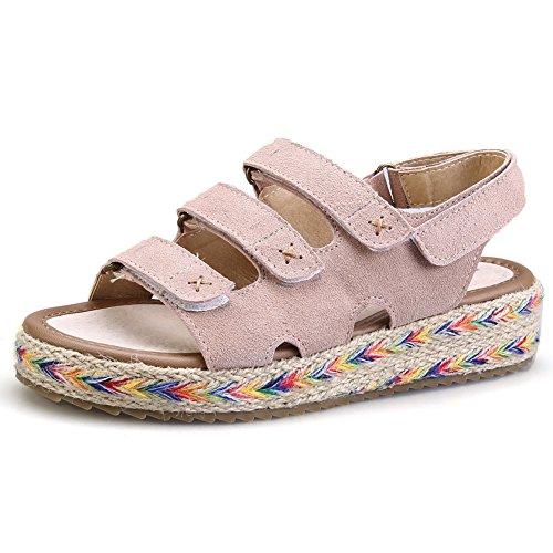 Strap Platform Suede Espadrilles Flatform Women's apricot Flat fereshte Sandals qHE4tF
