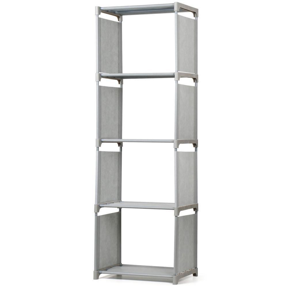 Monumart 4 Tier Kids Bookcase Children Bedroom Garment Storage Shelves Organizer Display Shelving Unit (Gray)