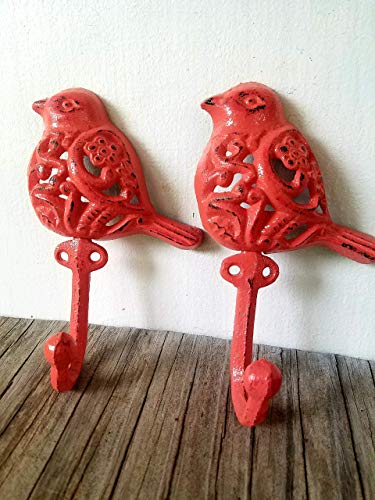 CORAL PINK BIRD HOOK Set of 2  Ornate Kitchen Home Decor  Wall mounted cast iron  Rustic with matching screws included