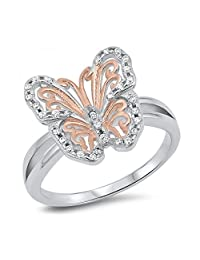 925 Sterling Silver Butterfly Cubic Zirconia Ring