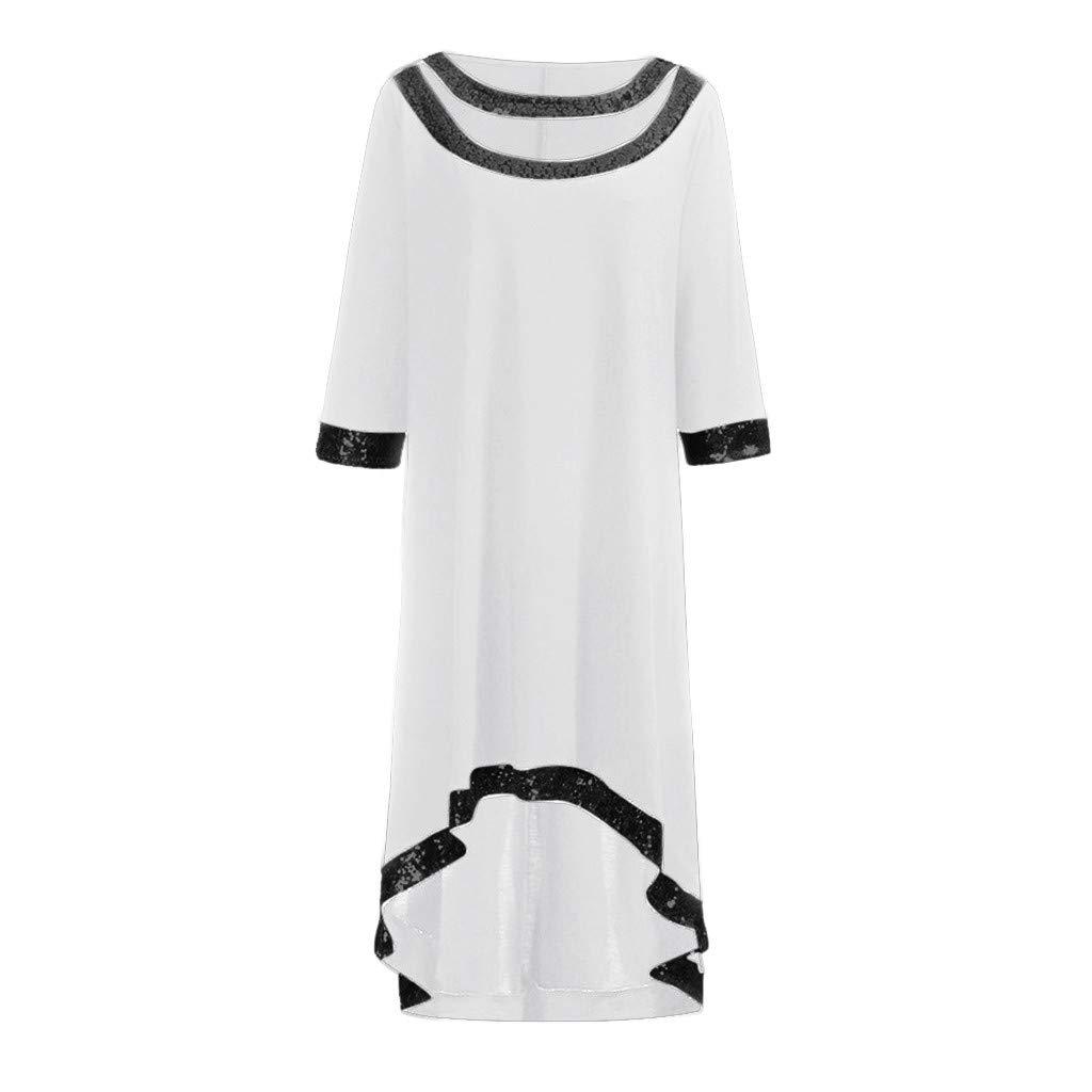 Blue, XXXXXL Thenlian Women Plus Size O-Neck Half Sleeve Sequined Silk Trim High Low Party Dress Dres