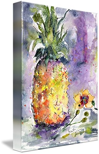 Pineapple And Orchids Watercolor by Ginette Callaway