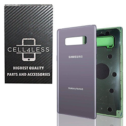 CELL4LESS Orchid Grey Compatible Back Glass Battery Door Cover Housing with Adhesive Replacement for Samsung Galaxy Note 8 - Any Carrier - N950 - (Orchid Gray)