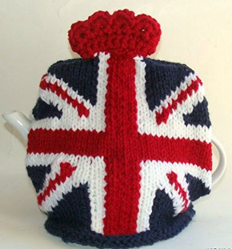 Union Jack British Flag Hand Knitted Teapot Cozy by Lil Brit Knits