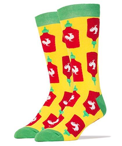 Oooh Yeah Men's Luxury Combed Cotton Crew Socks-Funny-Holy Sriracha Hot Sauce,size 10/13 (Sriracha Socks)