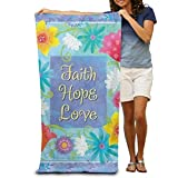 HUMRTSY Faith Hope Love Ultra Soft Micro Cotton Beach Bath Towel - Super Absorbent 80cm X 130cm