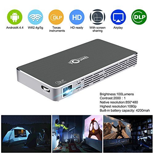 Mini Pico Projector HD DLP Projector hdmi 1080p Portable Wifi Wireless bluetooth home theater projector for smartphone iphone Andriod,TOUMEI C800S Keystone Correction by Super PDR