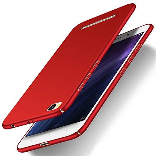 Funda Xiaomi Redmi 5A, Caso con [Protector de Pantalla de Cristal Templado] [Ultra-Delgado] [Ligera] Anti-Rasguño y Huellas Dactilares Totalmente Protectora Estuche de Plástico Duro - Azul Rojo