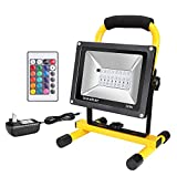 Ustellar Rechargeable 30W RGB LED Flood Lights, Outdoor Cordless Color Changing Floodlight with Remote Control, IP65 Waterproof, Portable 16 Colors 4 Modes Dimmable Emergency Light, Stage Lighting