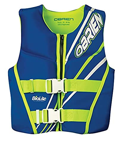 O'Brien Youth Neo Life Vest, Blue/Green, (Sport Life Vest)