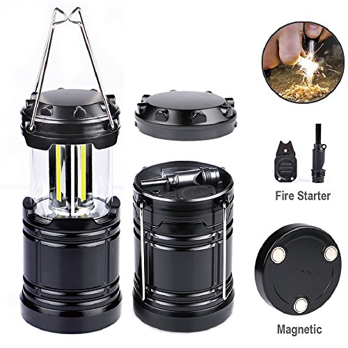 Fire Starter Flashlight (LED Camping Lantern Light Collapsible - Moobibear 500lm COB Technology Battery Powered Portable Lantern with Fire Starter, Magnetic Base for Night, Fishing, Hiking, Emergencies)