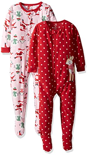 Carter's Baby Girls' 2-Pack Fleece Pajamas, White Stockings/red dot Reindeer 12 -