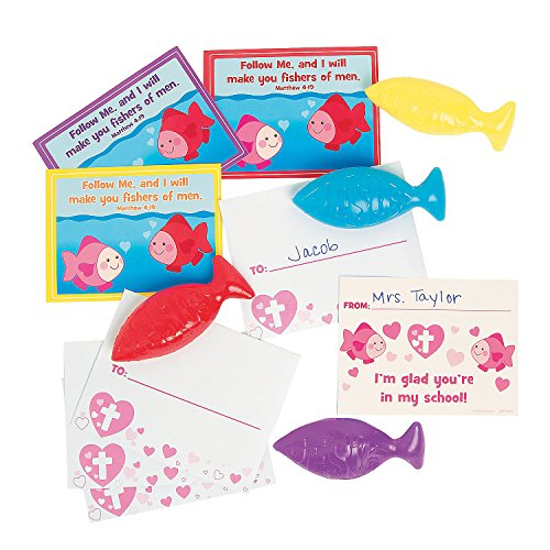 Fun Express - Im Glad You're in My School Card W/Fish for Valentine's Day - Toys - Value Toys - Sticky & Stretch Toys - Valentine's Day - 24 Pieces]()