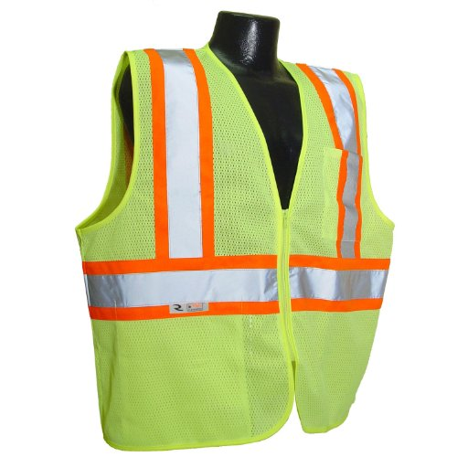 Radians SV22-2ZGM-XL Polyester Mesh Economy Class 2 High Visibility Zipper Closure Vest with Two-Tone Trim, X-Large, Green ()