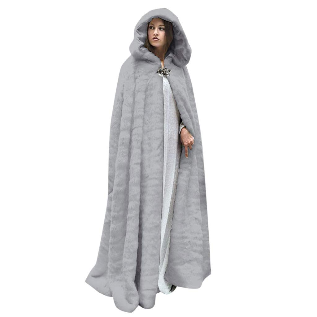 Fashionhe Women Winter Hooded Trench Coats Solid Colour Hooded Overcoat Flannel Long Cape Outwear (Gray.M) by Fashionhe