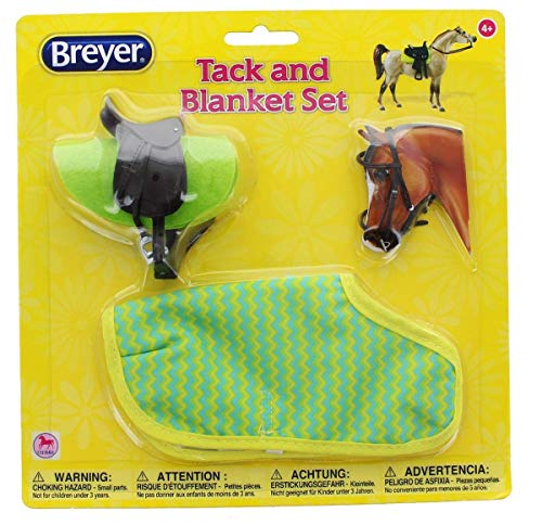 Breyer 1:12 Classic Model Horse Tack and Blanket Set, Green & Yellow