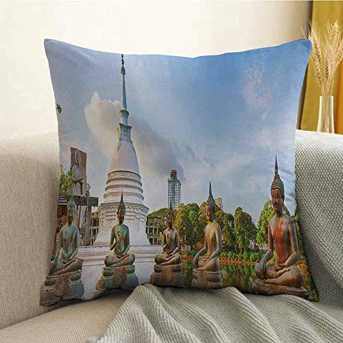 Colombo Zip - Bedding Soft Pillowcase Hypoallergenic Pillowcase Seema Malaka Temple on Beira Lake Colombo Sri Lanka Panorama Cloudscape W20 x L20 Inch Light Blue Green White