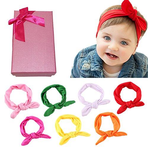 Coffret du ELESA Miracle cheveux accessoires Sweet Baby Girl avec dentelle mousseline de soie cheveux Bow Flower serre-tête (7pc Bow bandeau)