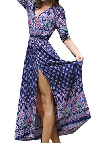 Floral Dress Printed Length 1 Beachwear Sleeve Jaycargogo Neck Long Women Full V zqWB8wv