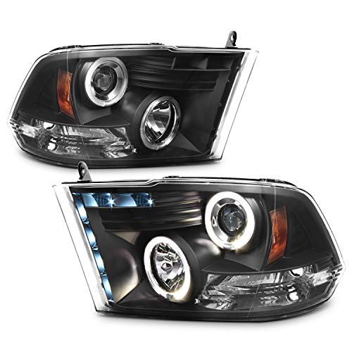 For Dodge Ram Pickup Truck Black Bezel Dual Halo Ring LED Projector Headlights Replacement Left + Right