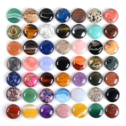 Round Gemstone (Wholesale Lot 24pcs Multi-color 25mm Gemstone Round Cab Cabochon For Jewelry Making)