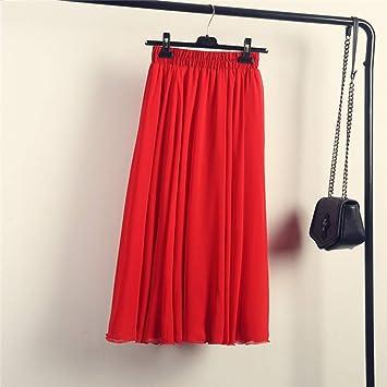 HEHEAB Falda,Rojo Bohemia Verano Faldas Largas Mujer Stretch ...
