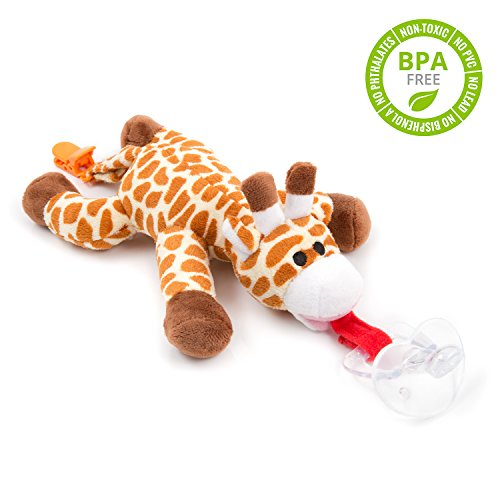 BabyHuggle Giraffe Pacifier - Stuffed Animal Binky, Soft Plush Toy with Detachable Silicone Baby Dummy, Paci Clip Leash & Squeaky (Pacimals Pacifier)