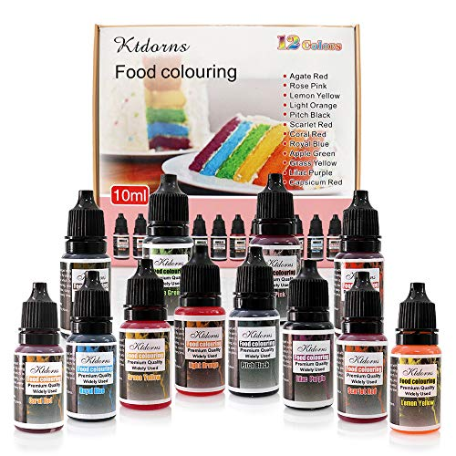 - Food Coloring - 12 Color cake food coloring liquid Variety Kit for Baking, Decorating,Fondant and Cooking, Slime Making Supplies Kit - .38 fl. oz. (10ml) Bottles