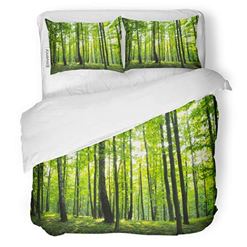 SanChic Duvet Cover Set Tree Sunlight in The Green Forest Spring Time Woods Lush Decorative Bedding Set with Pillow Sham Twin Size by SanChic (Image #1)