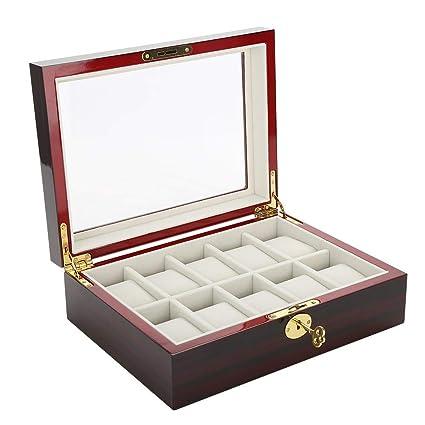 Relojes Caja, 10 Grid Madera Reloj vitrina caja Organizador Reloj Gafas Caja expositora para hombres