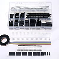 Glarks 635Pcs Dupont Connector Housing Male / Female Pin Connector 40 Pin 2.54mm Pitch Pin Headers and 10 Wire Rainbow Color Flat Ribbon IDC Wire Cable Assortment Kit