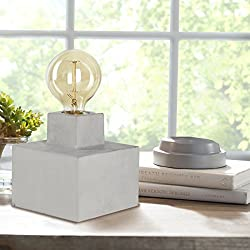 Table Lamp Industrial Design with Vintage Edison Globes Concrete Base, 40 Watts Osram Amber Glass Bulb, Gifts